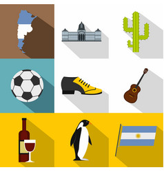 Argentina travel icon set flat style vector