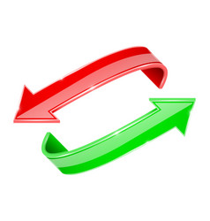 arrows set red and green curve signs vector image