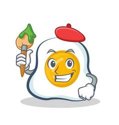 Artist fried egg character cartoon vector