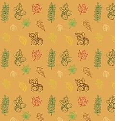 Autumn season hand drawn seamless pattern doodle vector image