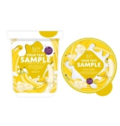 Banana yogurt packaging design template vector