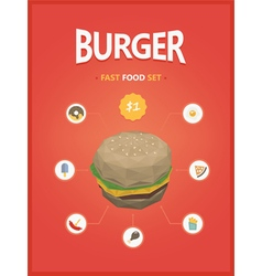 Burger fast foods set polygon style vector