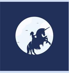 child on a unicorn logo design vector image vector image