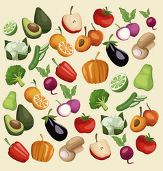 color background with pattern vegetables and vector image vector image