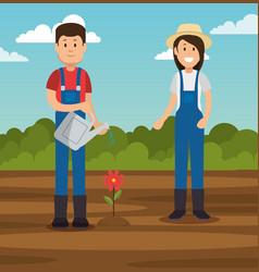 couple of young gardeners doing gardening work vector image