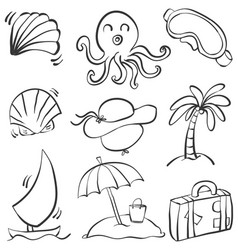 Doodle summer object hand draw vector