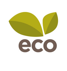 Eco logo design with green leaves isolated vector