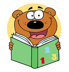 Happy Bear Reading A Book vector image