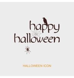Happy halloween icon with spider web raven vector