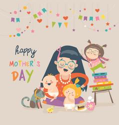 Happy mother with her children vector