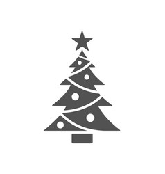 isolated christmas tree icon with star vector image vector image