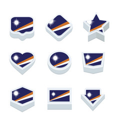 Marshall islands flags icons and button set nine vector
