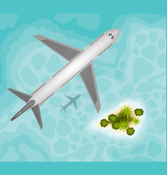 Plane over tropical paradise island vector