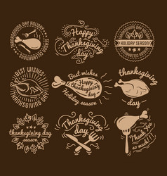 set of labels design template to thanksgiving day vector image