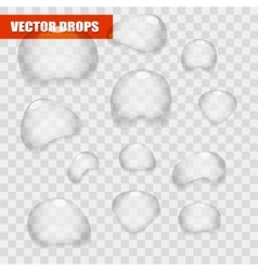 Set of transparent water bright drops vector image