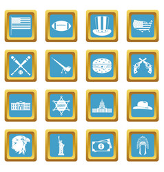 usa icons azure vector image