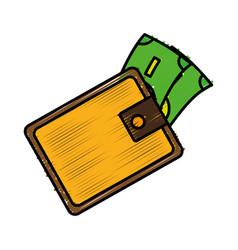 Wallet with money vector