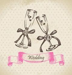 Wedding wineglasses hand drawn vector image