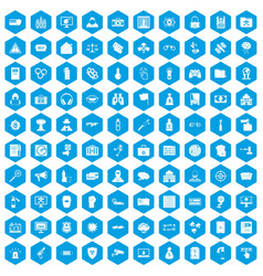 100 hacking icons set blue vector image vector image
