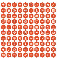 100 printer icons hexagon orange vector