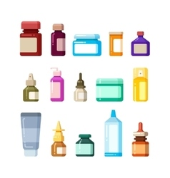 Medicine bottles for drugs pills and vitamins vector image