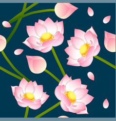 Pink indian lotus on indigo blue background vector