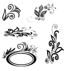 Set of floral silhouettes vector