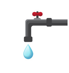 Water drips from the tap vector