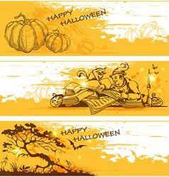 Orange halloween banners vector