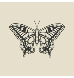 Black butterfly machaon vector