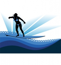 Surfing woman vector