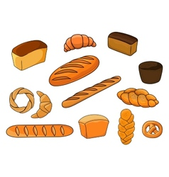 Breads and pastry in cartoon style vector
