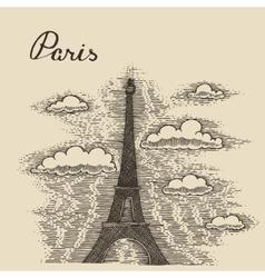 Streets in Paris France vintage engraved vector image
