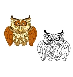 Cartoon funny brown owl bird vector