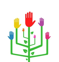 An abstract tree with colorful hands vector
