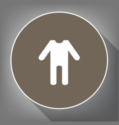 baby clothes sign white icon on brown vector image vector image