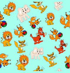 Background seamless childrens with animals vector