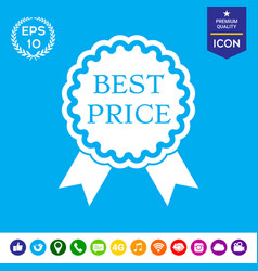 Best price label icon with ribbons vector