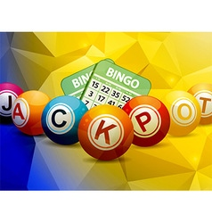 Bingo balls and cards over geometric background vector image