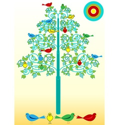 Birds on a flourishes tree vector image vector image
