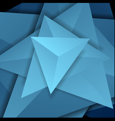 Blue abstract tech 3d polygonal shapes concept vector