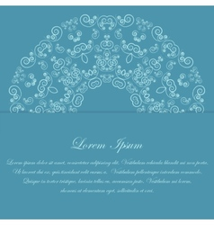 Blue card design with ornate pattern vector image vector image