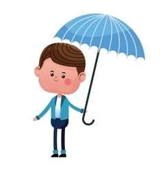 Boy smile umbrella blue jacket vector