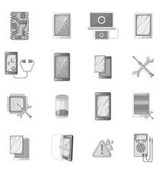 Broken phones fix icons set monochrome vector