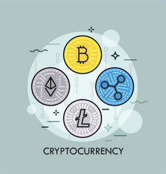 Cryptocurrency thin line concept vector