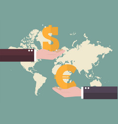 currency exchange euro and dollar with world map vector image vector image