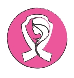 Emblem breast cancer ribon with woman vector