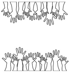 Figures hands up icon vector