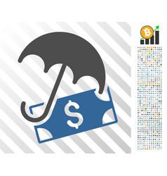 Financial umbrella flat icon with bonus vector