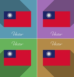 Flags Taiwan Set of colors flat design and long vector image vector image
